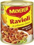 Ravioli in pikanter Sauce mit Fleisch